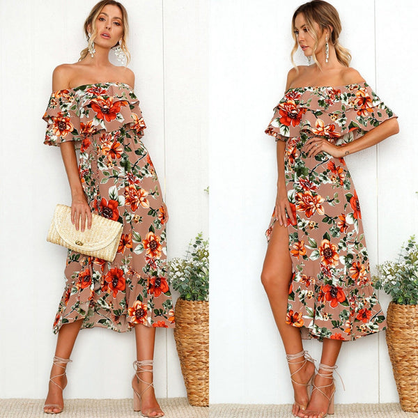 Lotus Edge Shoulder Printed Dress