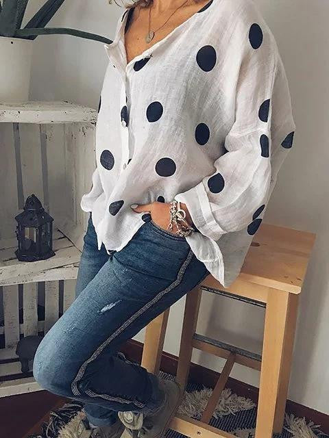 Point V-collar long sleeve linen printed shirt