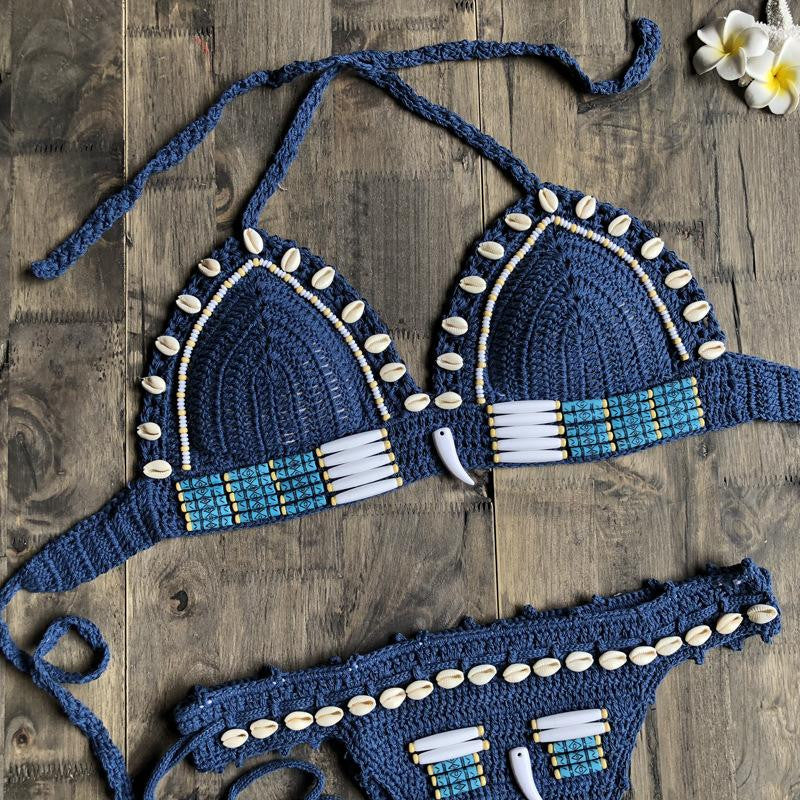 Hand-knitted Bohemian shell split bathing suit