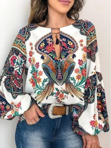 Printed hollow Bohemian Lantern Sleeve Shirt