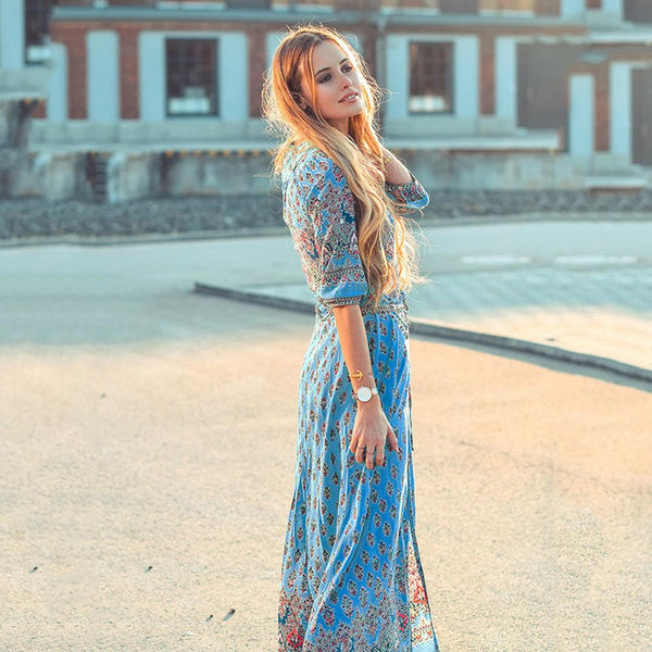 Bohemian Printed Dress Beach Dress