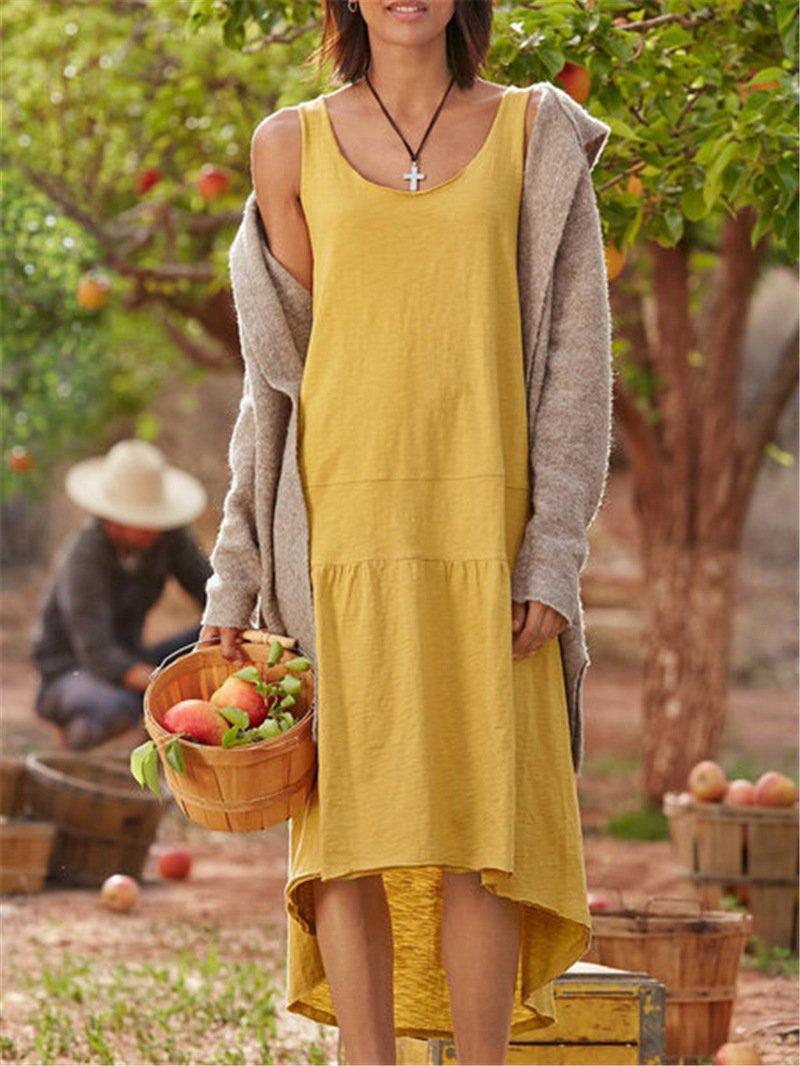 A loose wash cotton dress  | elledress