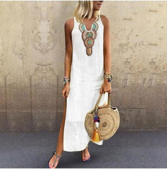 Cotton linen printing sleeveless long dress
