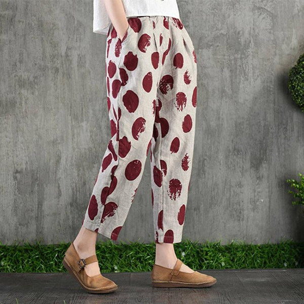 Printed cotton linen casual pants thin loose Harlan pants