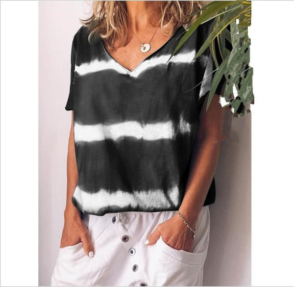 Loose-fitting multi-color striped V-collar short sleeve T-shirt  | elledress