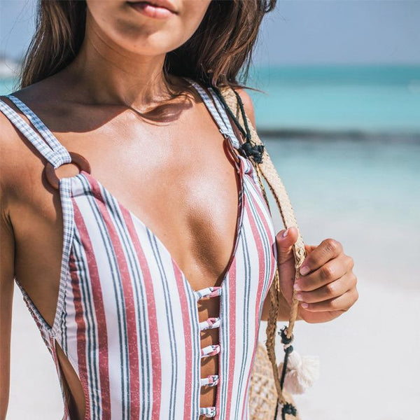 Sexy  stripe one-piece slim fit swimsuit