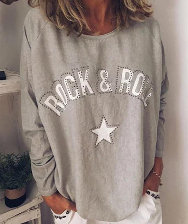 Printed round collar long-sleeved shoulder T-shirt