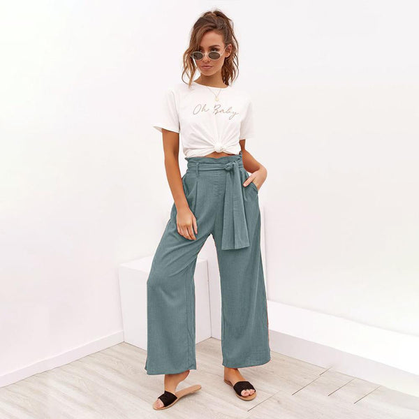 Four-color strap-on wide-legged casual trousers