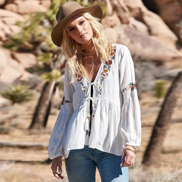 Bohemian lantern sleeve v-neck lace-up embroidered shirt