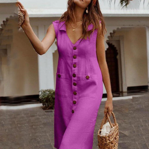 Solid color V neck pocket casual dress  | elledress