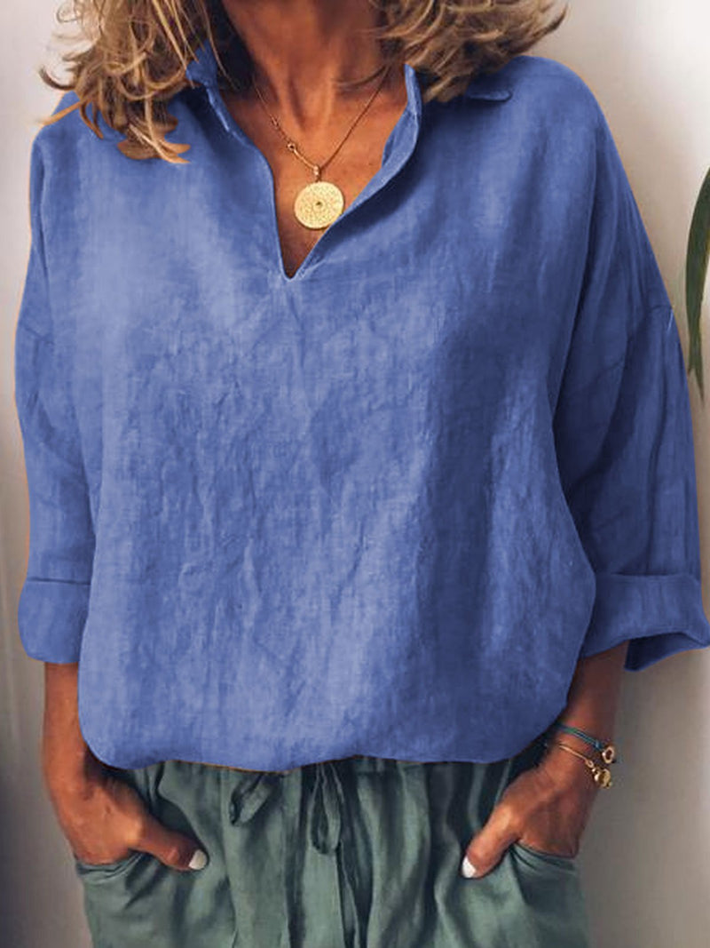 Solid 3/4 Sleeve Cotton Shirts & Tops  | elledress