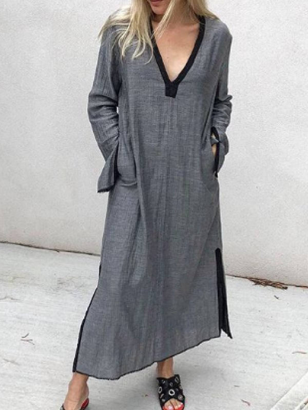Cotton-Blend Long Sleeve Dresses