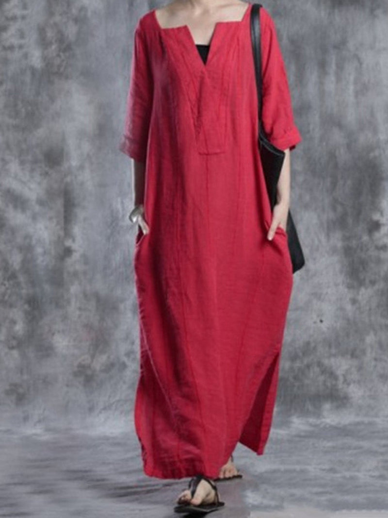 Red Solid Shift Simple Basic Casual Dress
