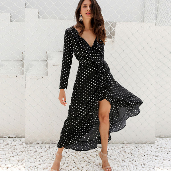 Polka dot ruffle wrap long Dress Women Split long sleeve spring casual Dress