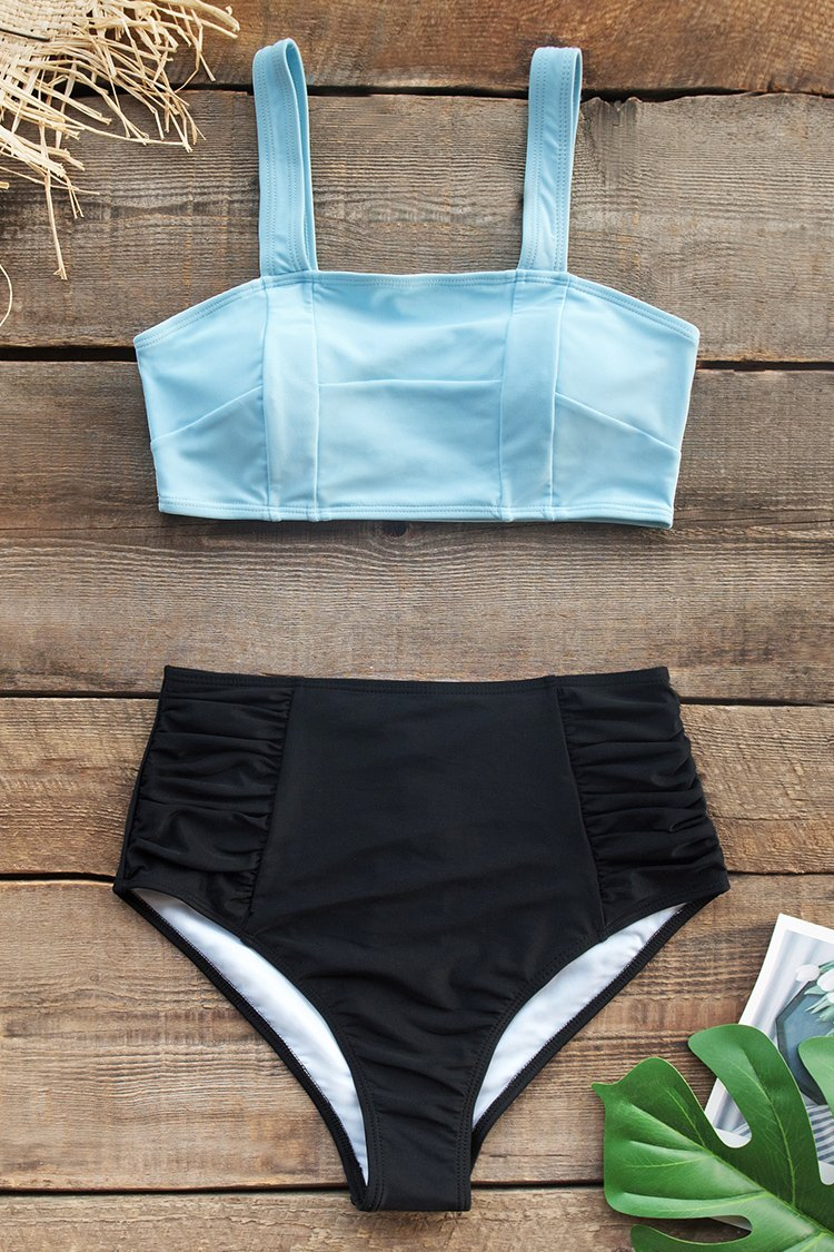 Baby Blue and Black High-Waisted Bikini  | elledress