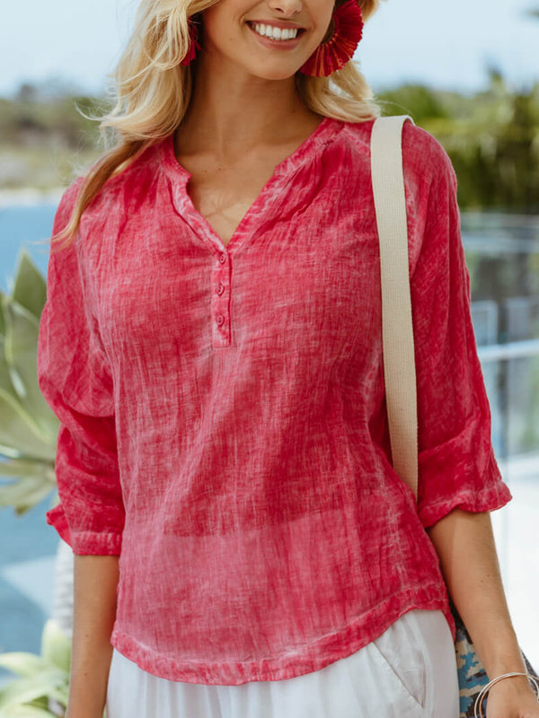 Red Cotton-Blend Casual Shirts & Tops