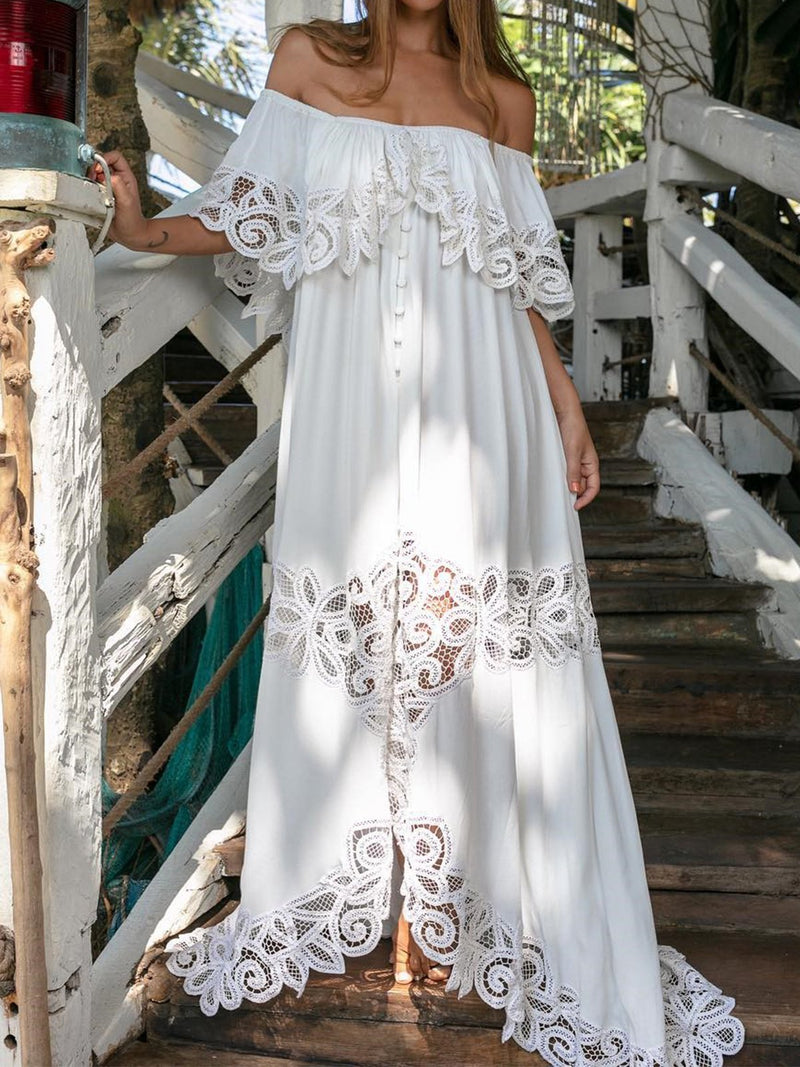 Vintage Women Off Shoulder Elegant Maxi Pierced Flower White Dresses