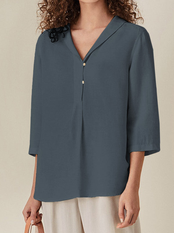 3/4 Sleeve Solid Cotton Shirts & Tops  | elledress