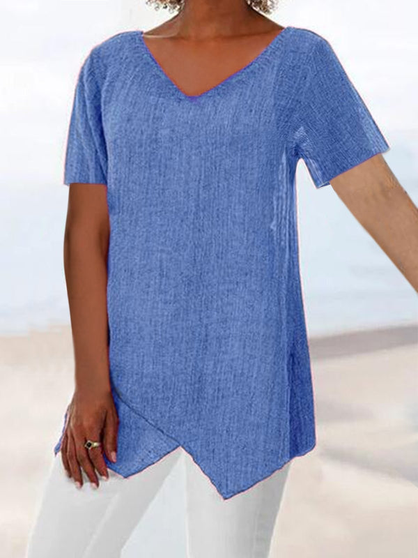 Short Sleeve Casual Cotton-Blend Shirts & Tops  | elledress