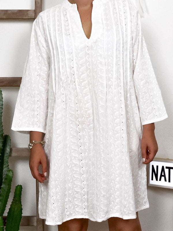 Plus Size Casual Long Sleeve V Neck Dresses