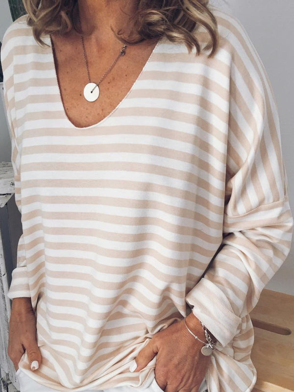 Plus Size Casual Striped  V Neck Long Sleeve Tops