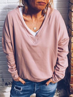 Plus Size Casual Long Sleeve Solid V Neck Tops