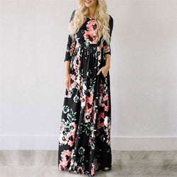 Floral Print Boho Beach Maxi Dress Evening Party Dress