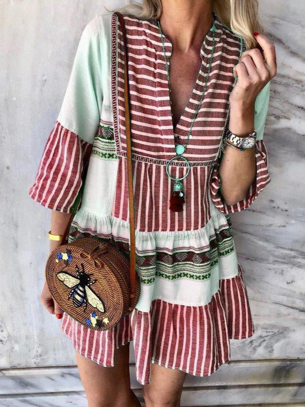 3/4 Sleeve V Neck Striped Dresses  | elledress