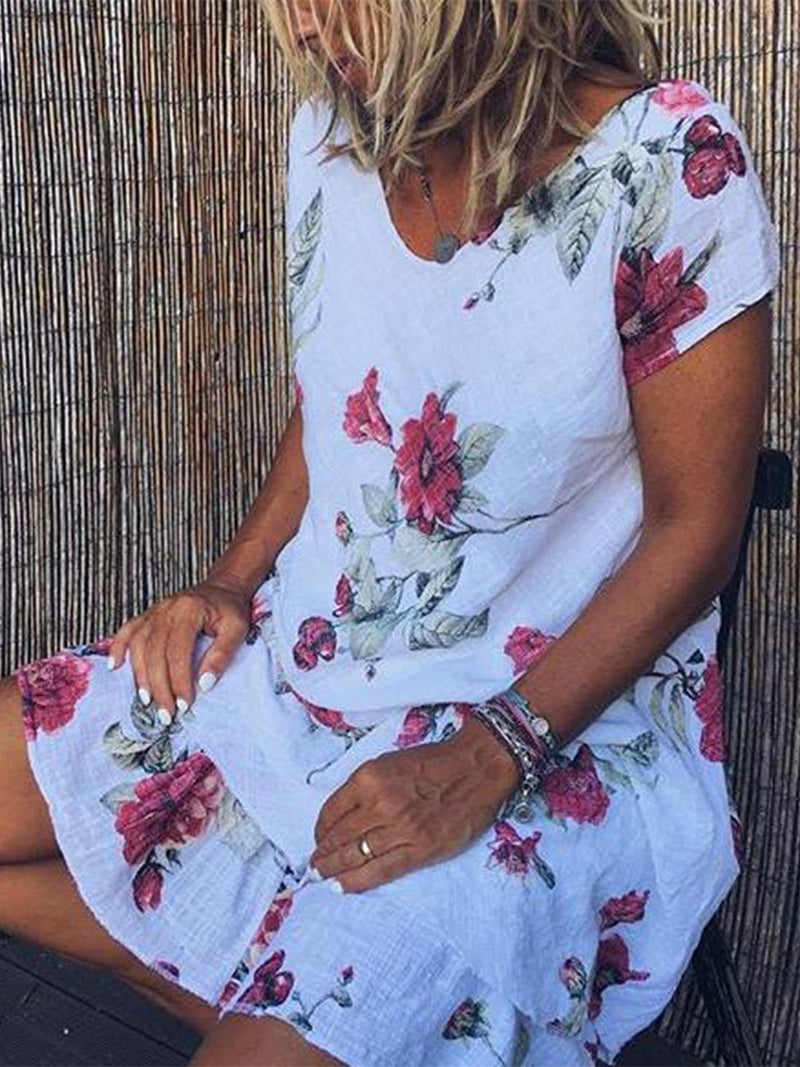 Printed Short Sleeve Casual V Neck Dresses