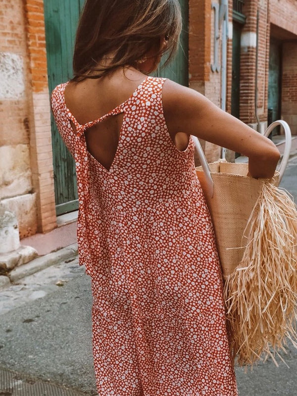 Red Boho Cotton Vacation Dresses