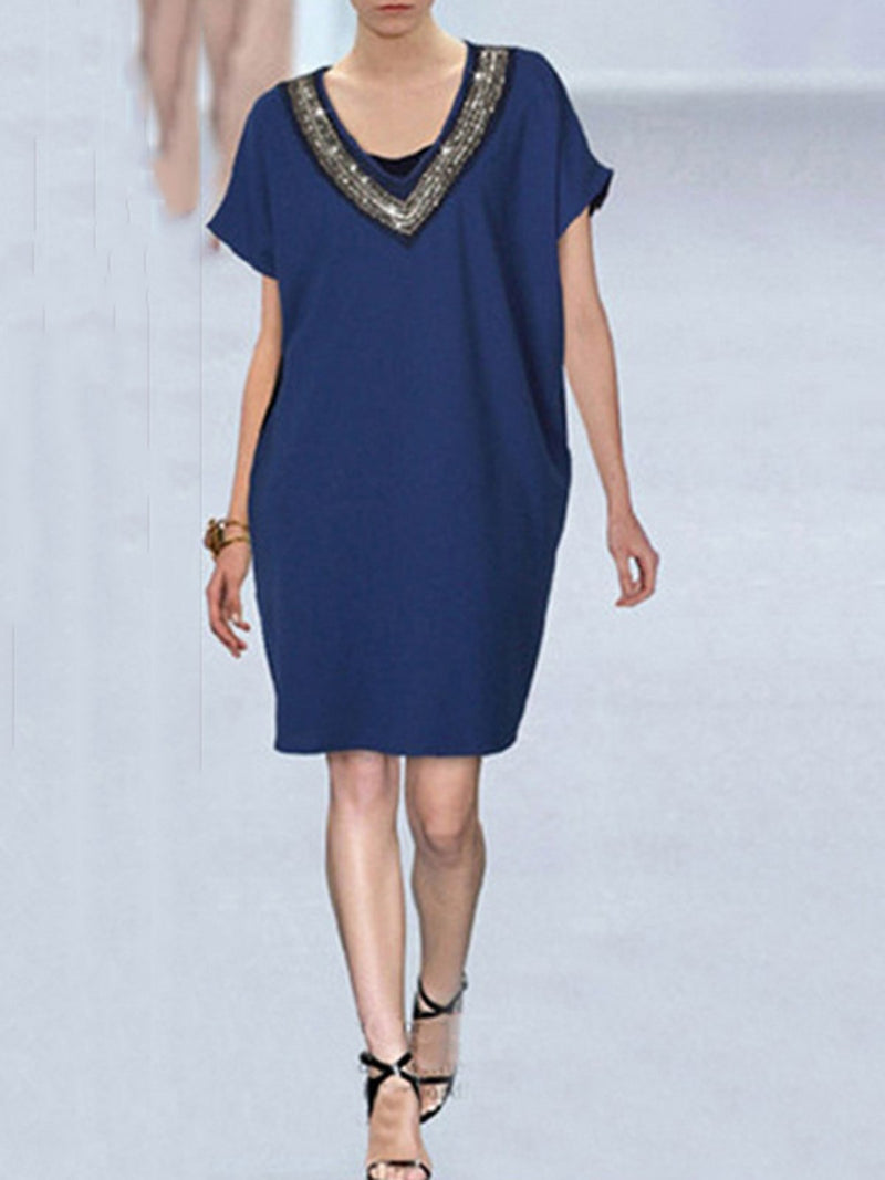 Plus Sizev Plain Casual Beaded Midi Dress