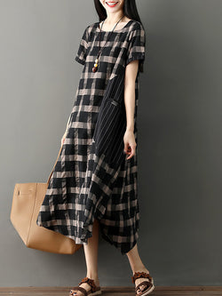 Women Checkered/Plaid Basic Casual Dress