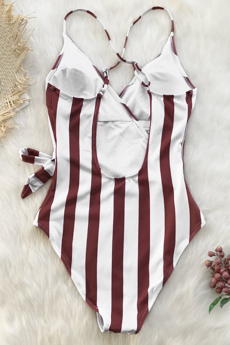 Red and White Stripe One-Piece Swimsuit