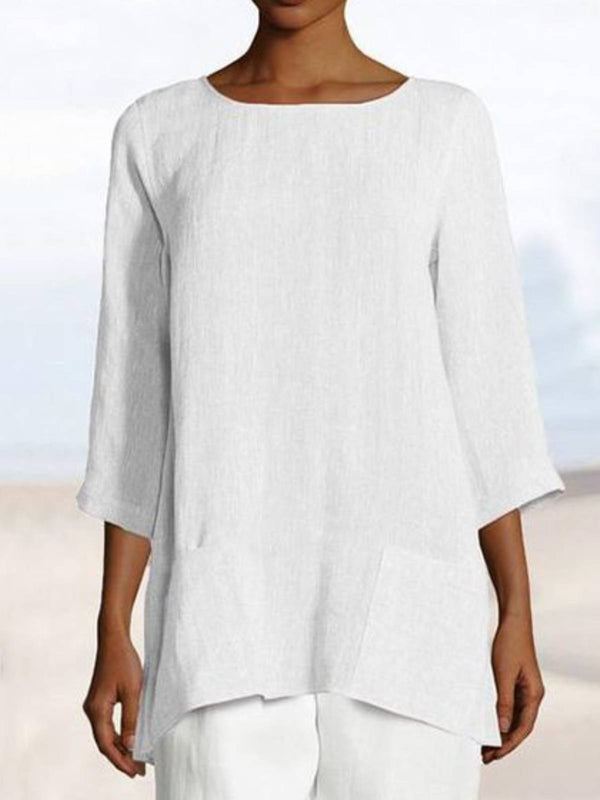 White Solid Casual Round Neck Pockets Shirts & Tops