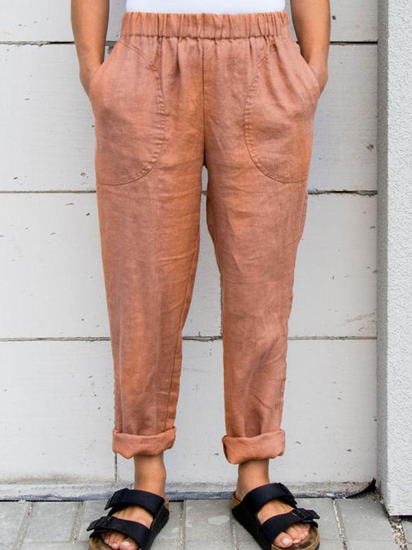 Red Casual Linen Solid Pants