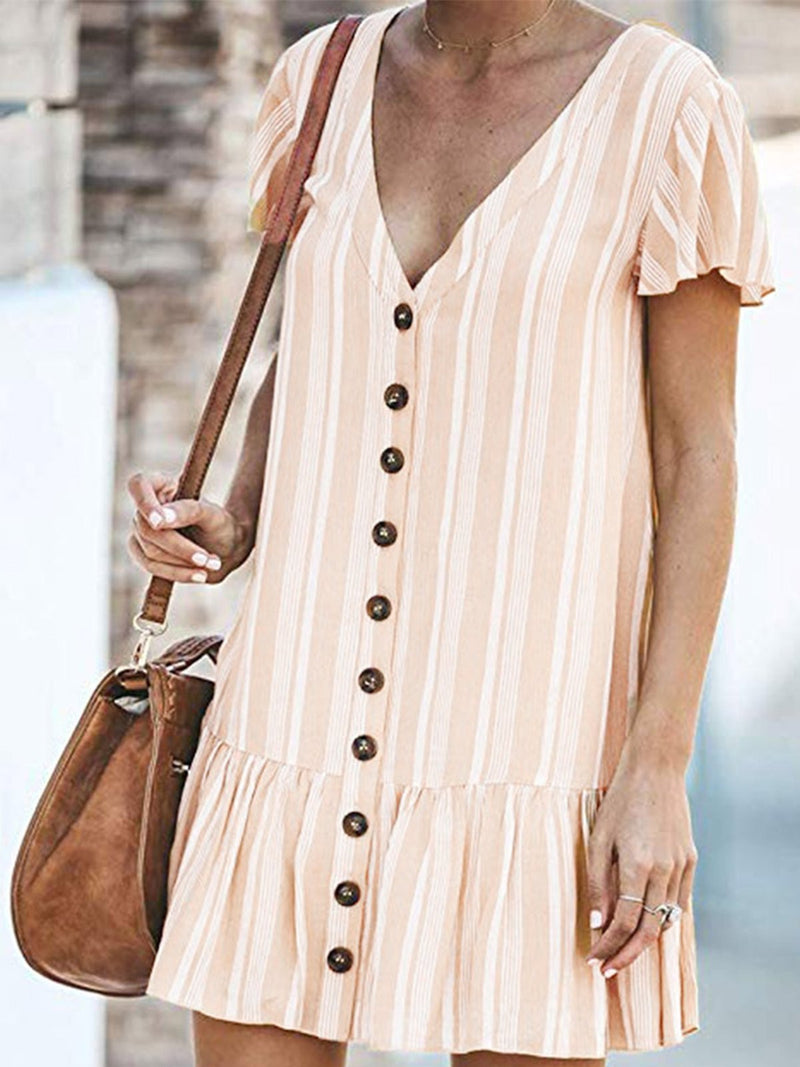 Beige V Neck Casual Dresses