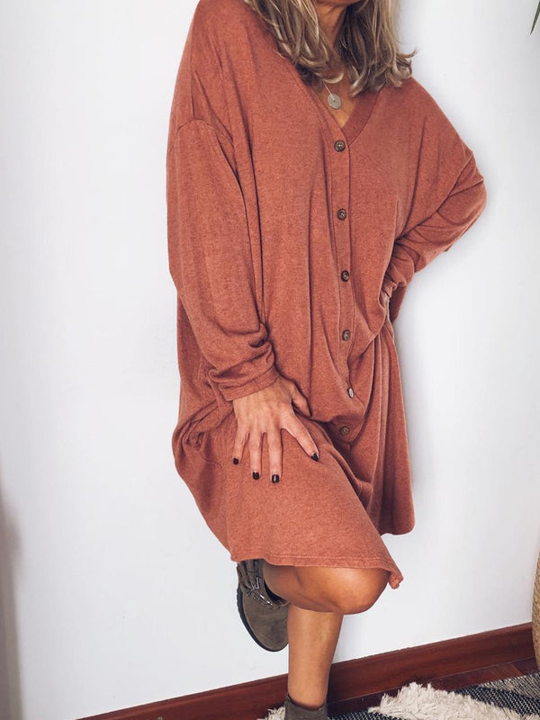 Solid Long Sleeve V Neck Casual Dresses