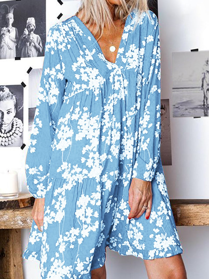 Women Spring Summer Floral Mini Dresses V Neck Shift Daily Boho Dresses
