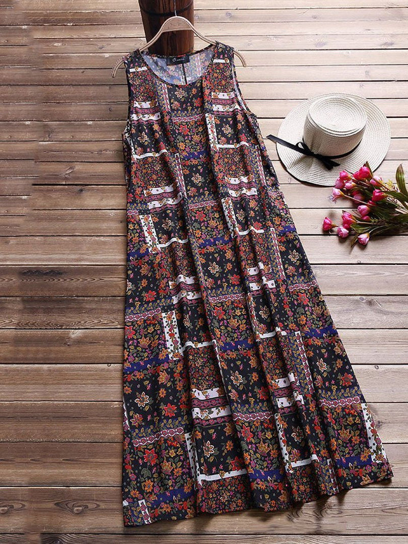Round Neck Sleeveless Floral Dresses
