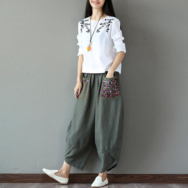 National wind-cotton flax broad-legged pants for ladies