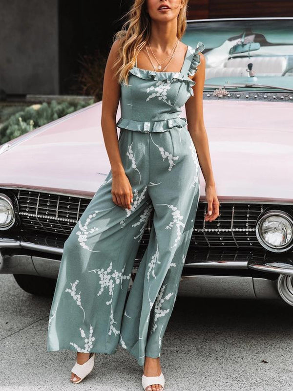 Floral Printed Sling Sleeveless Jumpsuit