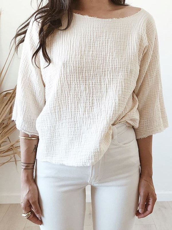 Beige 3/4 Sleeve Crew Neck Cotton Casual Shirts & Tops