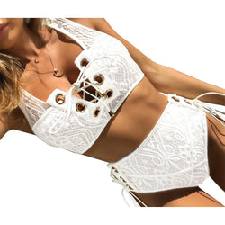 Elegant Sexy Band Lace Two-piece Bikini