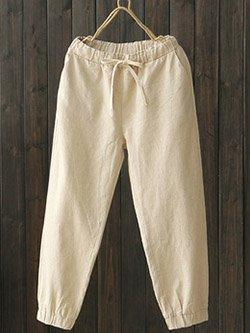 Women's Cotton And Linen Casual Loose Straight Pants  | elledress