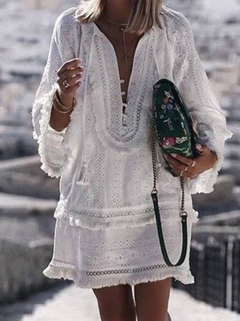 Deep V Neck Tassel Self-tie Long Sleeves Mini Dress