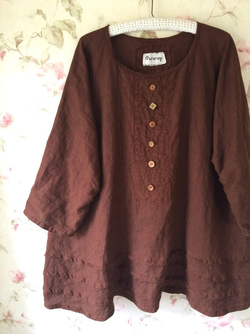 Round Neck Solid Casual Buttoned Shirts & Tops