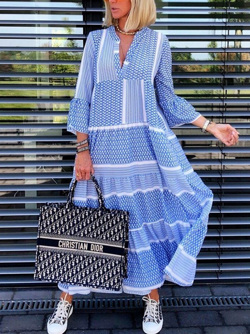 V-Neck Long Sleeve Blue A-Line Casual Maxi Dress