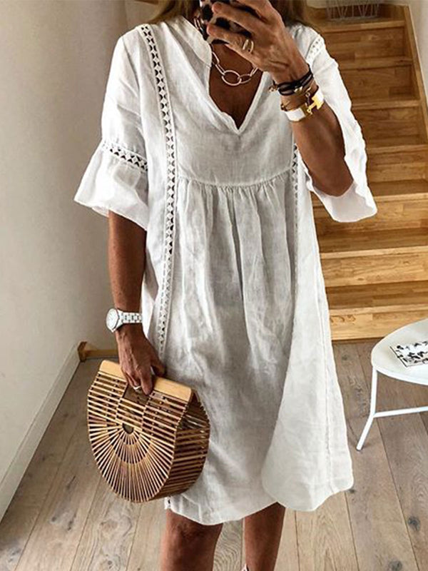 Solid Short Sleeves Crochet Casual Vacation Dresses  | elledress