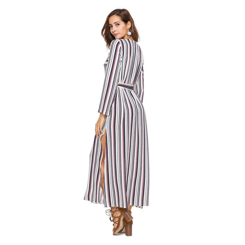 Long-sleeved shirt dress European and American striped open-forked dress skirt  | elledress