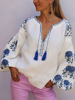 White-Blue Elegant V Neck Linen Floral Shirts & Tops